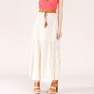 Cream lace x tan suede western chic long skirt